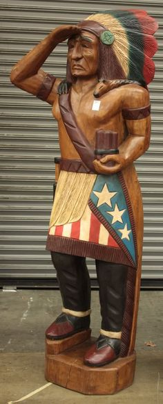 cigar store indian Garage, ideas, man cave, workshop, organization, organize, home, house, indoor, storage, woodwork, design, tool, mechanic, auto, shelving, car.