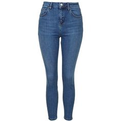 Topshop Moto 'Cain' High Rise Ankle Jeans ($40) ❤ liked on Polyvore featuring jeans, pants, bottoms, calças, pantalones, high rise skinny jeans, blue jeans, zipper skinny jeans, high waisted jeans and high-waisted jeans