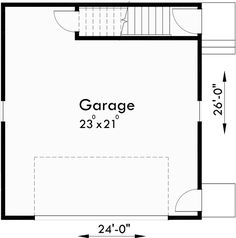 Main Floor Plan for 10154 Carriage house plans, 1.5 story house plans, ADU house plans, 10154