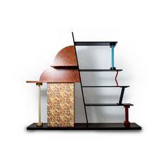 Mobile libreria Malabar by Ettore Sottsass per Memphis made in Italy 1982 in legno laccato e parti in laminato