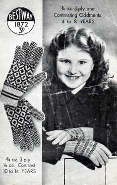 ~ Vintage 1940 s Knitting Pattern For Child s Fair Isle Gloves To Knit ~