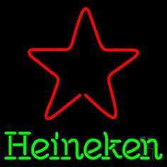 Heineken Star Beer Neon Sign 24 Tall x 24 Wide x 3 Deep, is 100% Handcrafted with Real Glass Tube Neon Sign. !!! Made in USA !!!  Colors on the sign are Green and Red. Heineken Star Beer Neon Sign is high impact, eye catching, real glass tube neon sign. This characteristic glow can attract customers like nothing else, virtually burning your identity into the minds of potential and future customers.