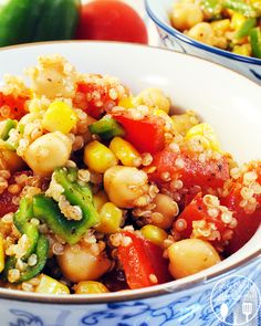 Quinoa corn salad has sweet corn, fresh peppers & tomatoes, protein based quinoa & chickpeas for a salad that can pass as a main dish or side.