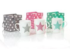 Set cani portelan Star, 300 ml, 3 piese Interiores Design, Mugs, Stars, Tableware, Inspiration, Decor, Biblical Inspiration, Dinnerware, Decoration
