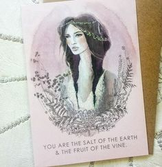 """""""You are the salt of the Earth & the fruit of the vine."""" Pretty little greeting card arriving this month for @papayaart . A mash up of my original paintings in gentle pinks.  #papayaart"""
