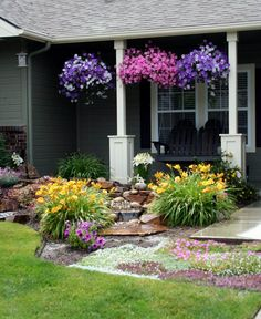 Porch Full of Petunias
