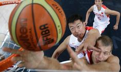 China play Russia in their basketball preliminary match at London 2012- excellent photo by Charles Krupa/AP