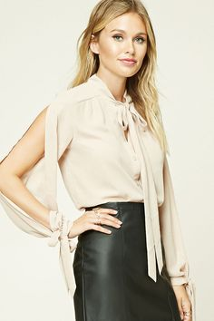 Forever 21 Contemporary - A semi-sheer woven top featuring a self-tie neckline, buttoned front, high-low hem, and long vented sleeves with self-tie cuffs.