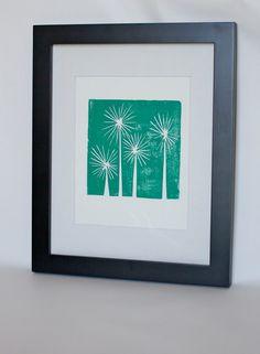 Modern Teal Trees Mid Century Art linocut print by RetroModernArt, $20.00