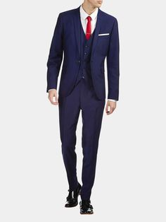 Buy Blue Nep Fabric Skinny Fit Suit: Jacket from the Next UK ...