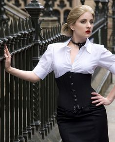 Black Evelyn underbust corset-Corsets & Bustiers-Sexy Lingerie