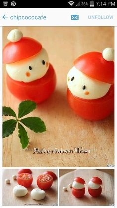 Kawaii Santa Tomatoes Christmas Buffet, Christmas Party Food, Xmas Food, Christmas Appetizers, Christmas Cooking, Christmas Desserts, Christmas Treats, Food Art For Kids, Food Garnishes