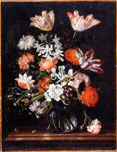 Kukkaloistoa. Kukoistavat, mutta pian kuihtuvat kukat muistuttavat katsojaa ajan ohikiitävästä luonteesta.  Jacob Marrelin (1613/14–1681) Kukka-asetelmassa kuvatut raidalliset tulppaanit olivat aikansa harvinaisuuksia ja niiden sipuleista maksettiin suuria summia. Gustavianum. Uppsalan yliopistomuseo.