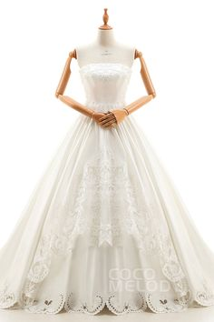 Gorgeous+A-Line+Strapless+Natural+Cathedral+Train+Satin+Ivory+Sleeveless+Lace+Up-Corset+Wedding+Dress+with+Beading+and+Embroidery+B14TB0083