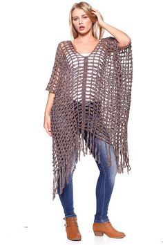 Fishnet Poncho Fabulous What more can I say One size fishnet poncho with fringe fits Small to 46 x 56 inches 100 Acrylic Great Resort Wear Stay Sexy Crochet Woman, Love Crochet, Knit Crochet, Crochet Shirt, Crochet Cardigan, Knit Shrug, Sweater Cardigan, Crochet Poncho Patterns, Crochet Stitches