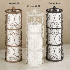 Grace your bathroom with the traditional styling of the handpainted Aldabella Toilet Paper Storage. Each handcrafted, wrought iron toilet paper holder helps keep things neat and tidy, while enhancing your decor with elegant, openwork scroll designs. Toilet Paper Stand, Toilet Paper Storage, Toilet Paper Roll Crafts, Origami Tattoo, Italian Home Decor, Home Detox, Wrought Iron Decor, Iron Furniture, Furniture Online