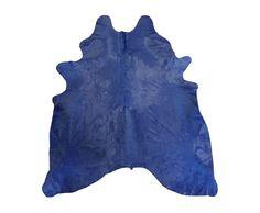 Alfombra Piel de Vaca Estampado Azul Dyed Cowhide por PuraSpain