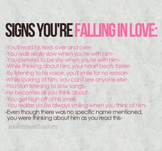 Signs you're falling in love... Iyaaaa.. kurang jelas apa lagi siihh????? L O V E. Tuh. Baca.