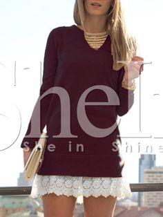 e04ad8ce6536c8 Burgundy Contrast Lace Hem Dress -  17.99 Sheinside