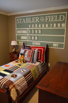 I've been wanting to redo my boys' room and as they're baseball fans, this scoreboard would be too cute!