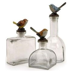 Home Decorators Collection Maco Assorted Clear Glass Decorative Bird Bottle (Set…