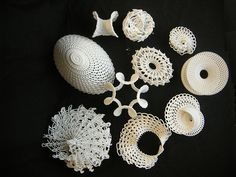 Hyperbolic Crochet is the name given to applying a mathematical principle to crochet patterns. A hyperbolic plane expands exponentially from any point on its surface, always curving away from itself. You can easily crochet a hyperbolic surface by increasing at a constant rate throughout the piece.