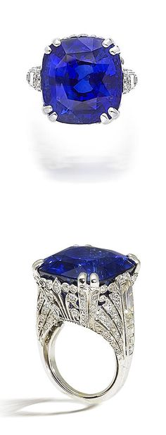 A sapphire and diamond ring, by Chantecler. Set with a cushion-cut sapphire, weighing 36.83 carats, to a single-cut diamond-set gallery with pierced foliate detailing, between collet-set baguette-cut diamond-set shoulders, mounted in platinum, the diamonds estimated to weigh approximately 3.00 carats in total, maker's case,