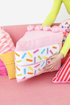 DIY Pillows and Fun Pillow Projects - DIY No-Sew Funfetti Cake Slice Pillow - Creative, Decorative Cases and Covers, Throw Pillows, Cute and Easy Tutorials for Making Crafty Home Decor - Sewing Tutorials and No Sew Ideas for Room and Bedroom Decor for Teens, Teenagers and Adults
