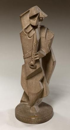 Jacques Lipchitz French, active in the United States, 1891–1973 Harlequin with Clarinet  1919 Limestone (with integral base): 29 3/4 x 11 x 10 1/4 in. (75.6 x 27.9 x 26 cm)