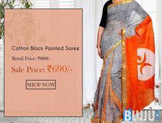 Orange Pallu Cotton Block Painted Saree & Blouse Product code: GLSA90C186 Retail price: 869/-  Sale price : 690/-