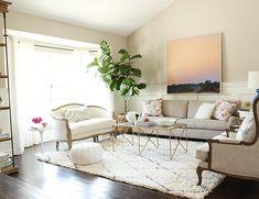 gold coffee table + white and black geometric rug + vintage furniture // studio mcgee