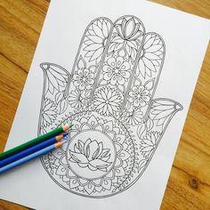 Hamsa Lotus dibujado a mano colorante adultos por MauindiArts More