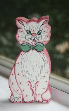 Mean Kitty Cat Funny Wooden Figure Handpainted in 1989 by Aurelas, $5.00