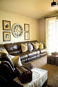 Brown and Yellow Living Room. Brown and Yellow Living Room. if We Could Manage A More formal Living Room I Would Want Living Room Color Schemes, Living Room Colors, Living Room Paint, New Living Room, Colour Schemes, Yellow Walls Living Room, Color Combinations, Brown Leather Couch Living Room, Living Room Decor Brown Couch
