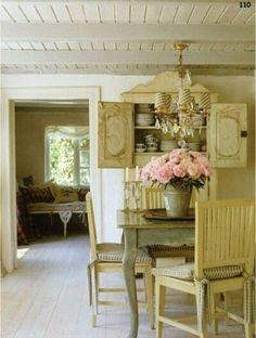 French country farmhouse dining room decor with timeless design in a rustically elegant room with antique furniture and wood ceiling. Shabby Chic Français, Shabby French Chic, French Decor, French Country Decorating, Cottage Decorating, French Country Kitchens, French Country Farmhouse, French Cottage, French Country Style