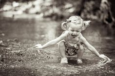 2 year old girl playing in the creek, Tavia Larson Photography in Central PA