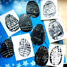 Styrofoam Printmaking with Kids - Easter Eggs and Faces