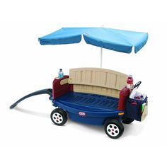 Easily transport your young ones around with this fun Little Tikes deluxe Ride and Relax Wagon complete with an umbrella. When you're not pulling this wagon along, you can convert it to a bench that's perfect for weary kids and adults.