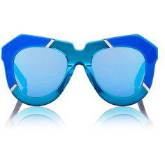 Karen Walker Sea Blue and Crystal Aqua acetate One Splash sunglasses accented with goldtone metal stripe inlays. Handmade. . Oversized rounded geometric shape…