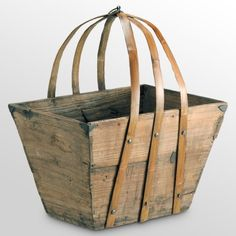 the Foundary - Utility Basket. Love the chunky rustic wood and the lines of the handle