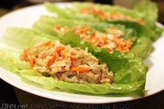 Tuna avocado lettuce wraps with cabbage slaw. Asian flavors. http://www.j3nn.net/2011/11/14/changing-it-up-lower-carb-day-1-of-3-and-the-nasoya-giveaway-winner/