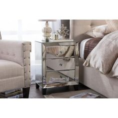 Baxton Studio Chevron Contemporary Hollywood Regency Glamour Style Mirrored 3-drawers Bedside Nightstand Table