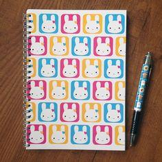 Kawaii Bunny Squares Notebook.