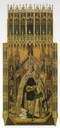 "BARTOLOMÉ BERMEJO: ""Retablo de Santo Domingo de Silos"" (1474-1477). Óleo sobre tabla. Daroca (Zaragoza)."