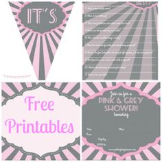 Pink and Gray baby shower with  FREE PRINTABLES!!!  [includes a Banner, Game, Labels & Invite =) ]