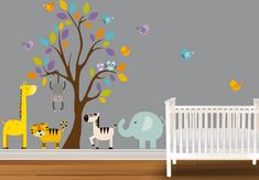 1000 images about chambre mininous on pinterest bebe - Stickers jungle chambre bebe ...