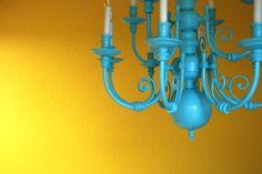 I love bright colors!  Especially yellow and aqua!