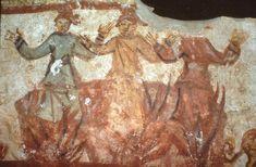 Catacombe dei Giordani, Roma. Affreschi del IV secolo. Tre fanciulli di Babilonia che non sono stati bruciati dalle fiamme della fornace Moose Art, Painting, Painting Art, Paintings, Painted Canvas, Drawings