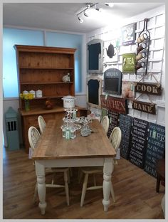 Country Kitchen Pine Dresser, Hasndpainted Rustic Pine Kitchen Table in Annie Sloan Old White paint and lots of Yummy wall signs.