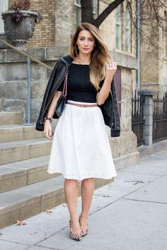 White lace midi skirt for Fall